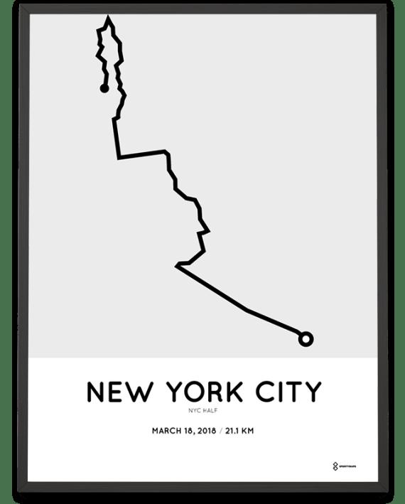 2018 New York City half marathon course poster