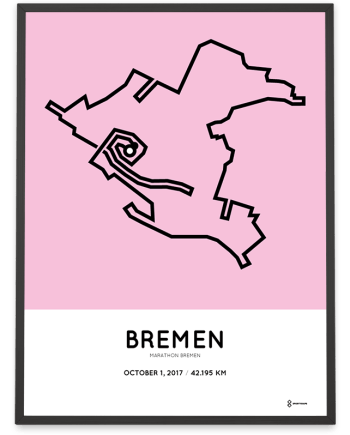 2017 Bremen marathon course map poster
