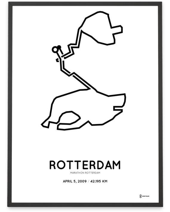 2009 Rotterdam marathon course poster