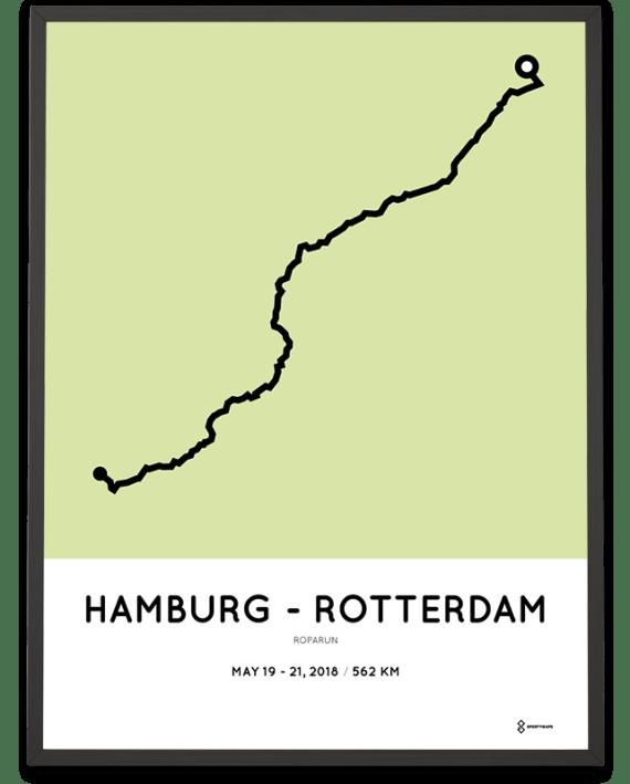 2018 Roparun hamburg to Rotterdam route poster