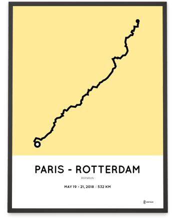 2018 Roparun Paris to Rotterdam route poster