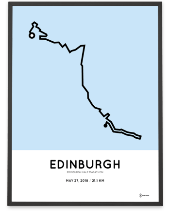 2018 Edinburgh half marathon route map poster