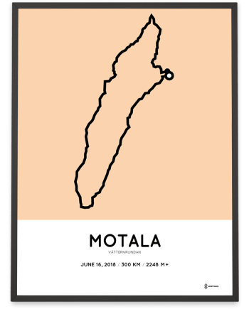 2018 Vatternrundan 300km course map poster