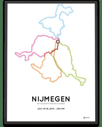 2014 Nijmeegse Vierdaagse route poster 200km