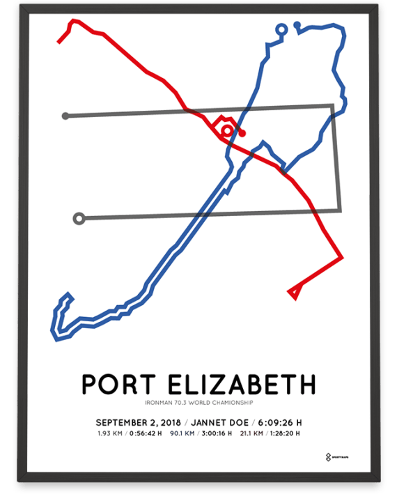 2018 Ironman 70.3 World Championship Port Elizabeth course poster
