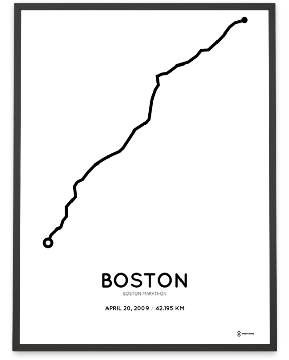 2009 Boston marathon coursemap print