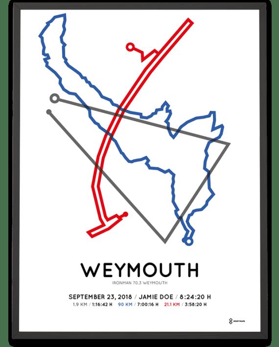 2018 Ironman 70.3 weymouth routemap poster