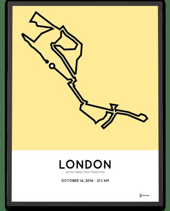 2018 Royal Parks half marathon course poster