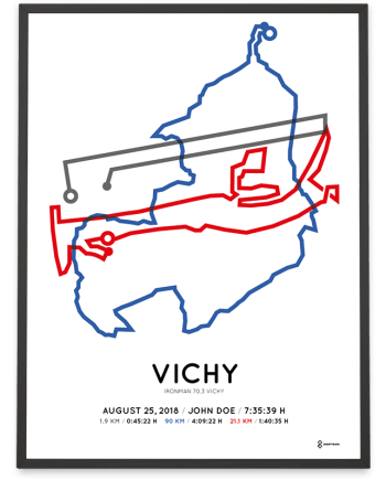 2018 Ironman 70.3 Vichy parcours poster