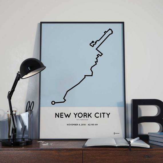 2018 New York City marathon minimalist course poster