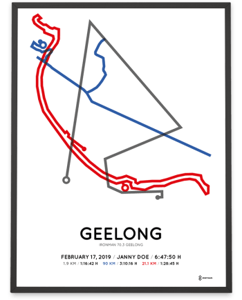 2019 ironman 70.3 Geelong route poster