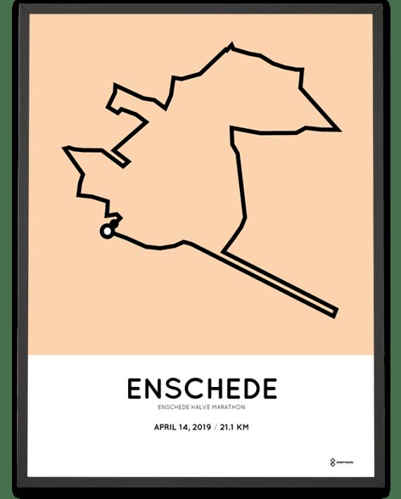 2019 Enschede halve marathon route poster sportymaps
