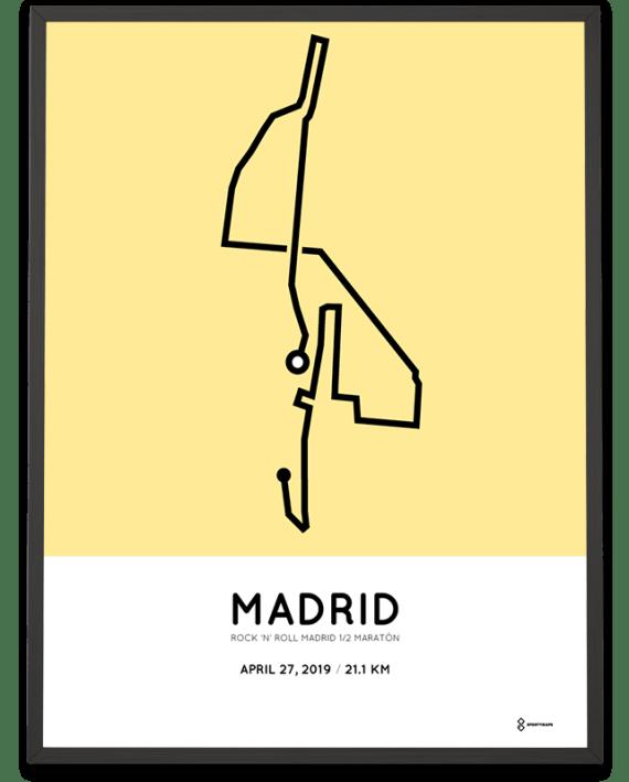 2019 Madrid half marathon course poster
