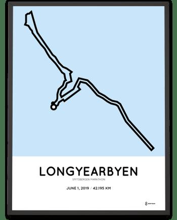 2019 Spitsbergen arctic marathon routemap poster