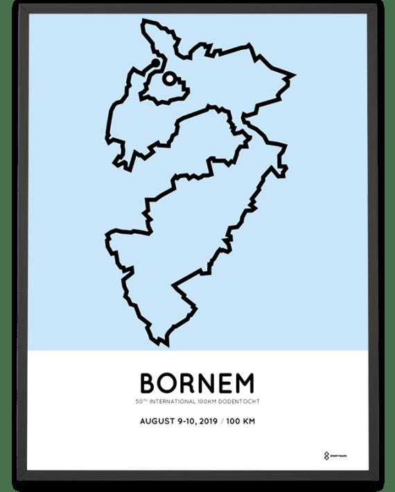 2019 100km Dodentocht Bornem parcours poster