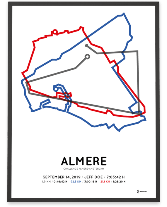 2019 Challenge-Almere-Amsterdam middle distance course poster