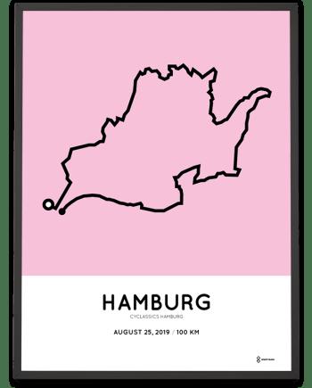 2019 Cyclassics Hamburg 100km strecke poster