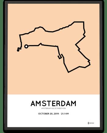 2019 Amsterdam half marathon routeposter
