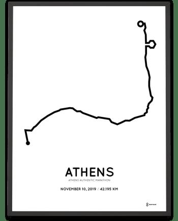 2019 Athens marathon course poster