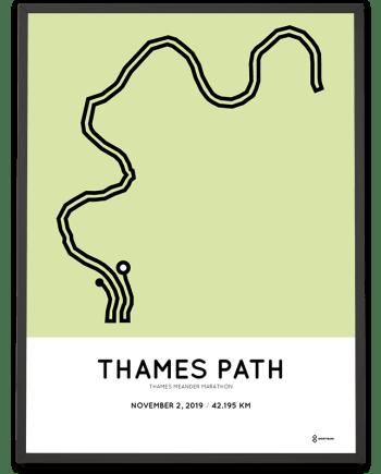 2019 Thames Meander Marathon course print