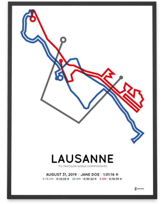 2019 ITU Sprint triahlon World Championships Lausanne course poster