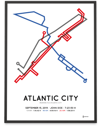2019 Ironman 70.3 Atlantic City course poster