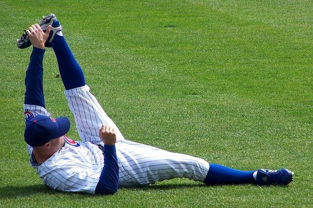 baseball players streching