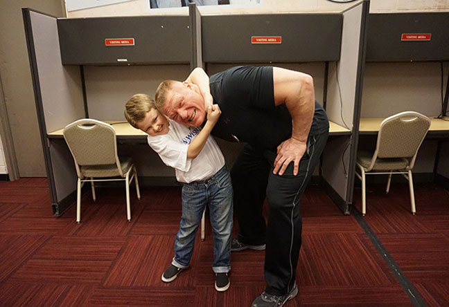 brock lesnar with fans