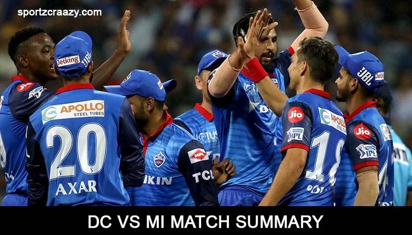 DC Vs MI Match Summary
