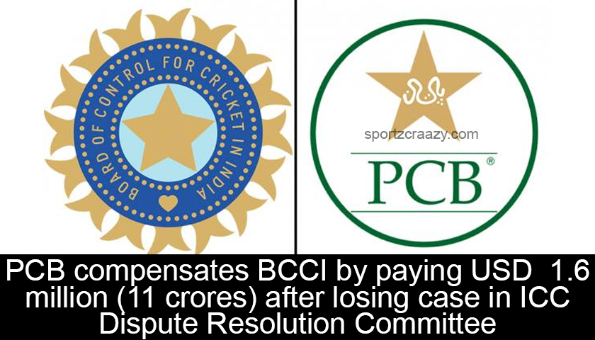 PCB compensates BCCI by paying USD 1.6 million (11 crores) after losing case in ICC Dispute Resolution Committee
