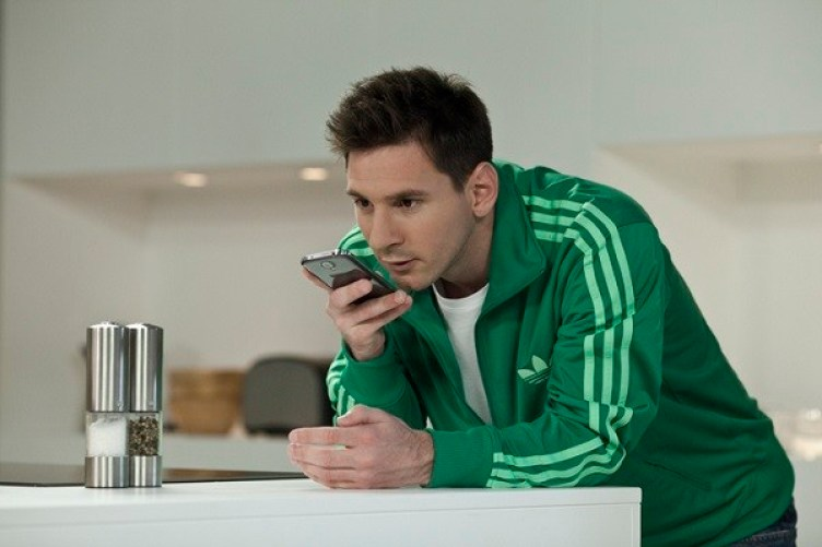 Messi on the phone