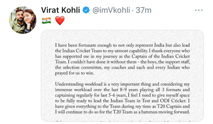 Kohli to step down as India's T20I captain after T20 World Cup