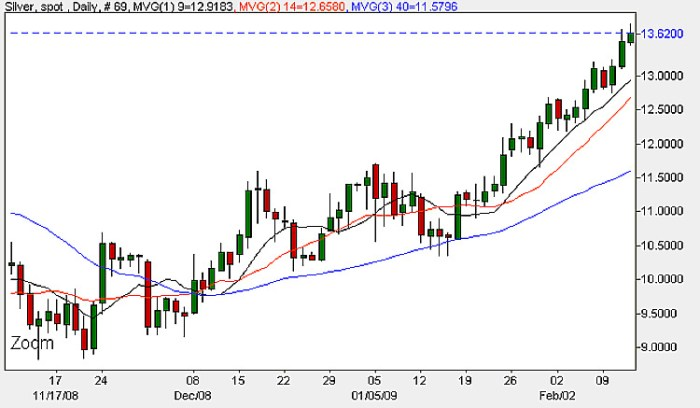 Spot Silver - Daily Candle Chart Febraury 2009