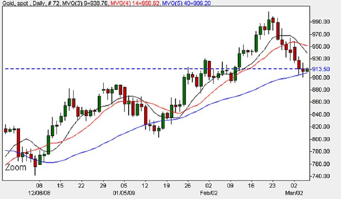 Spot Gold Daily Price Chart - 5th March 2009
