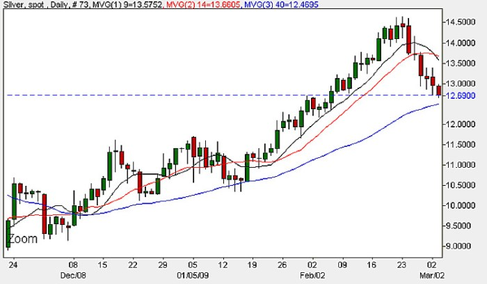 Spot Silver Price - Daily Candle Chart 3rd March 2009