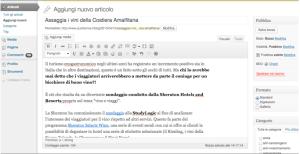 Esempio di nuovo articolo nella dashboard WordPress