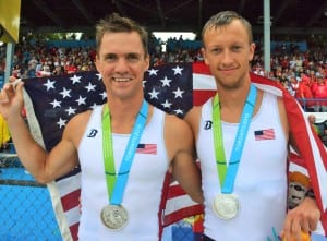 With his teammate, Nick Trojan, Austin Meyer is aiming to make the United States Olympic rowing team for the 2016 Games in Rio de Janiero after competing in the Pan Am Games and the World Rowing Championships last year. Submitted photo