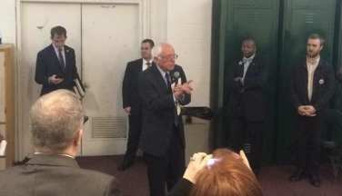 Democrat Presidential candidate Bernie Sanders speaks to a group of local and state officials in the Washington Avenue Armory prior to his public appearance Monday, April 11. Ali Hibbs/Spotlight