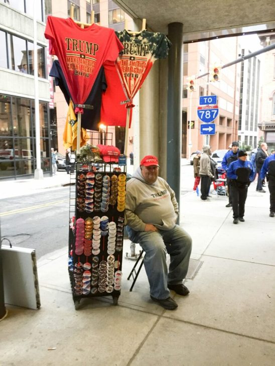 A vendor outside the Donald Trump rally at the Times Union Center Monday, April 11. Tricia Cremo/Spotlight