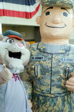 """""""Pappy Paw,"""" one of the Tri-City ValleyCats mascots, meets up with Army mascot """"GI Johnny."""" Rob Jonas/Spotlight"""
