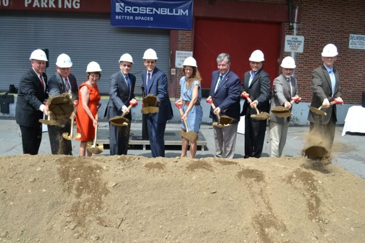 """""""City, county and state officials, as well as leaders of the Troy business community, joined representatives from The Rosenblum Companies today at 501 Broadway, the former home of the Troy Record newspaper, to celebrate a groundbreaking for Rosenblum's $23+ million mixed-use loft apartment project. From left: Assemblyman John McDonald; Rensselaer Chamber of Commerce President Michael O'Sullivan; Rensselaer County Executive Kathleen Jimino; Rosenblum Companies Chairman Jack Rosenblum; Rosenblum Companies CEO Seth Rosenblum; Troy BID Executive Director Katie Hammon; Senator Neil Breslin; Rensselaer County Industrial Development Agency Executive Director Robert Pasinella; Troy Mayor Patrick Madden; Rosenblum Companies Executive Vice President Jeff Mirel."""""""