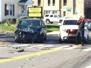 A two-car accident at the intersection of Kenwood Avenue and Adams Street on Tuesday, Nov. 8 (photo by Jim Franco/Spotlight News)