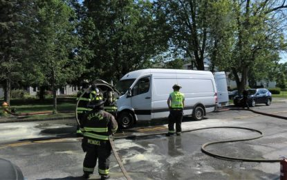 Van carrying bottled oxygen catches fire at Four Corners