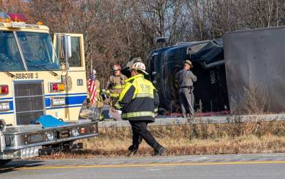 Tractor trailer overturns on Northway