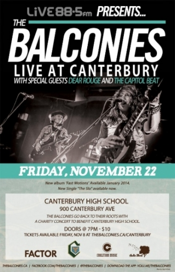 The Balconies - Canterbury benefit poster