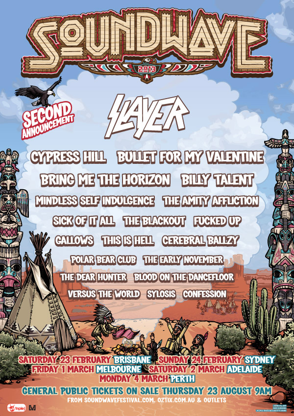 Soundwave 2013 Second Announcement Including Slayer