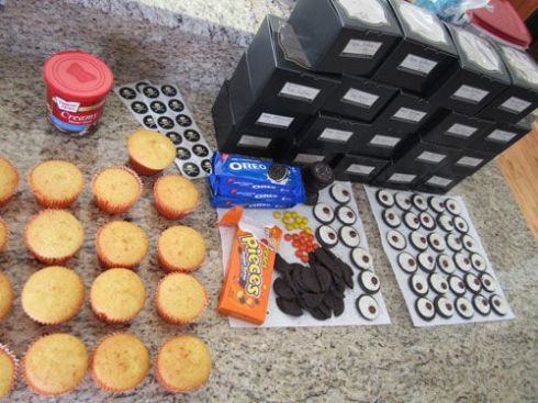 Prepping the owl cupcakes