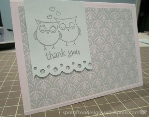 owl thank you card with heat embossing