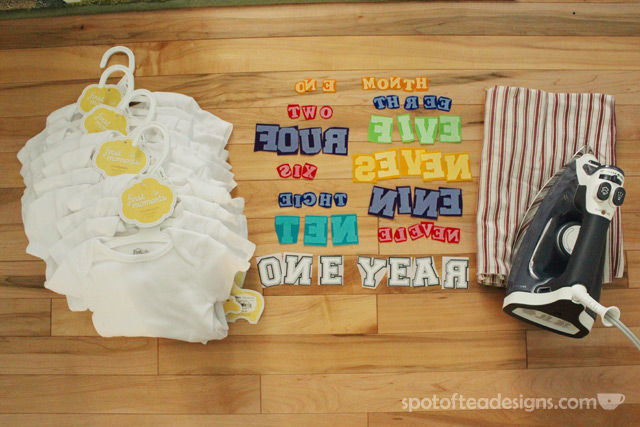 Monthly Baby Onesies as a shower gift - take a photo on each month birthday | spotofteadesigns.com
