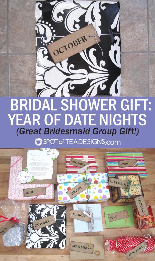 Year of Date Nights Group #BridalShower #Gift idea. #wedding | spotofteadesigns.com